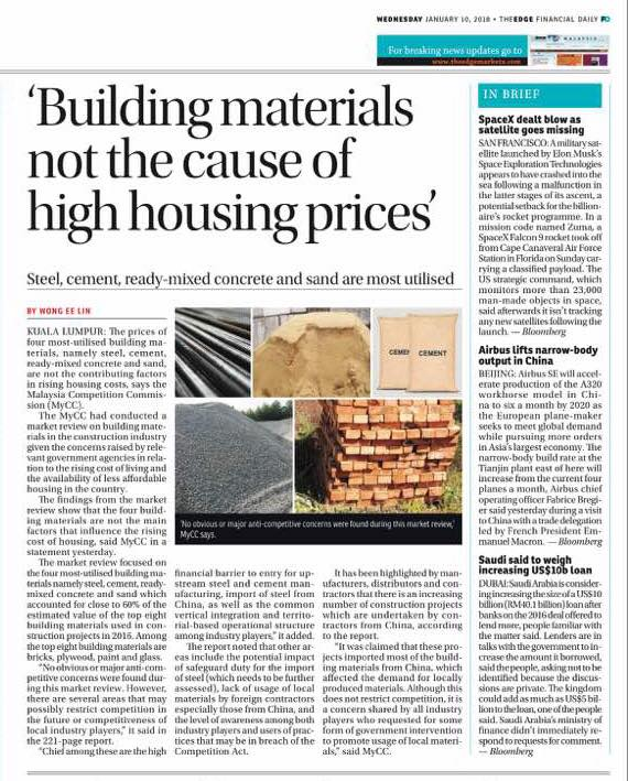 building materials - theedge financial daily